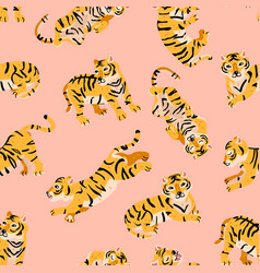seamless pattern with tigers child style vector image