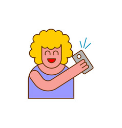 selfi icon woman takes picture of herself on phone vector image