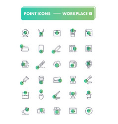 set 30 line icons workplace and stationery vector image
