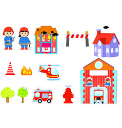set of characters of profession firefighter vector image