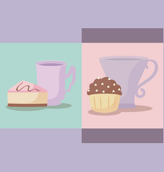 set of delicious cupcakes with cups vector image