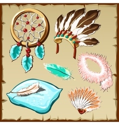 Set of feathers dream catcher pillow and other vector image