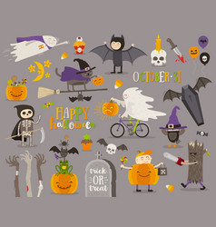 Set of halloween sign symbol and objects vector