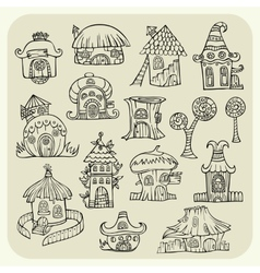 Set of sketch cartoon houses vector