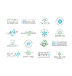 Set retro vintage science and research logo or vector
