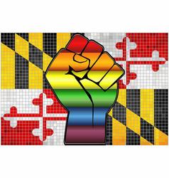 Shiny lgbt protest fist on a maryland flag vector