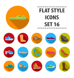shoes set icons in flat style big collection vector image