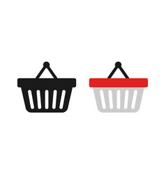 shopping baskets in trendy flat style on blank vector image