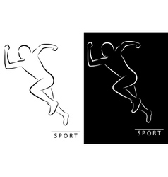 Silhouette of an athlete running Black and white vector image