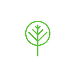 simple green tree icon isolated on white vector image