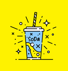 Soft drink soda line icon vector