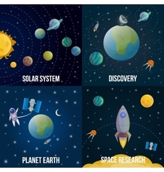 Space Universe Colored Icon Set vector image