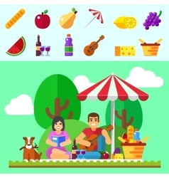 Summer picnic Young family with dog vector image