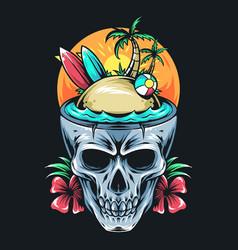 summer skull contains surf board coconut tree vector image