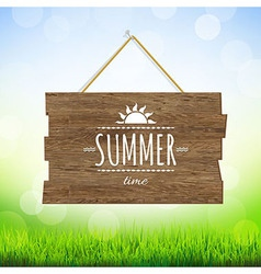 Summer Time Wood Board vector image