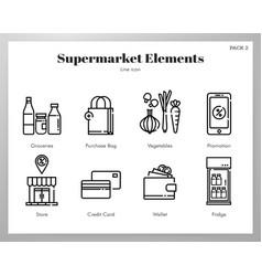 Supermarket elements line pack vector