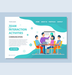 Team interaction activity people meeting website vector