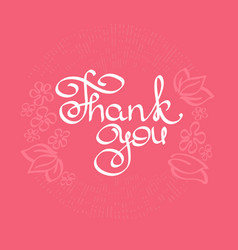 thank you card brush pen lettering vector image