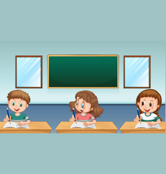 Three pupils writing in classroom vector