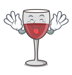 Tongue out wine mascot cartoon style vector