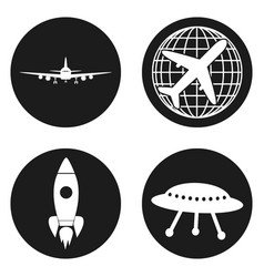 transportation icons airplane rocket flying vector image