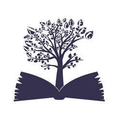 Tree in the book unique logo design vector