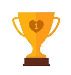 trophy cup flat icon simple winner vector image