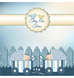 twins baby shower invitation vector image
