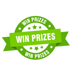 win prizes ribbon win prizes round green sign win vector image