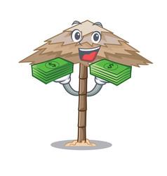 With money beach shelter under the umbrella vector