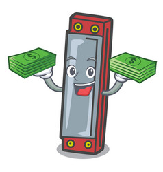 With money harmonica mascot cartoon style vector