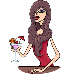woman with drink cartoon vector image