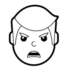 Young man face angry expression cartoon vector