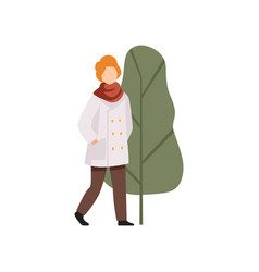 young man walking in the park in autumn outwear vector image