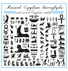 Ancient egyptian hieroglyphs and symbols vector