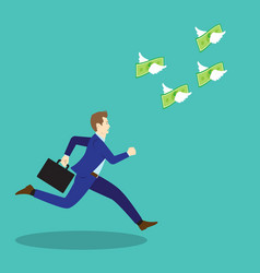 businessman chasing flying money vector image vector image