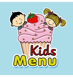 children with a muffin vector image vector image
