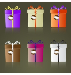colorful gifts with ribbons and tags reflection vector image vector image