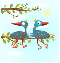 parents birds with newborn egg vector image