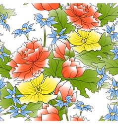 seamless of a color flowers and green leafs vector image vector image