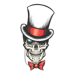 skull in cylinder hat with monocle vector image vector image