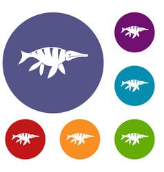 aquatic dinosaur icons set vector image vector image