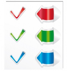 checkmark stickers and arrows vector image