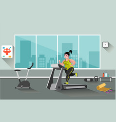fat woman running on a treadmill vector image