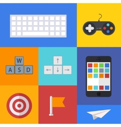 flat modern icons set on sample backgrounds vector image vector image