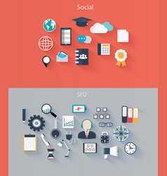 set of flat icons for web and mobile devices vector image