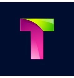 T letter green and pink logo design template vector image