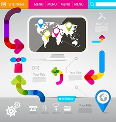 Web Design Template - Technology Infographics with vector image