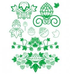 malt and hop leaves vector image