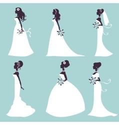 Set of elegant brides in silhouette vector image vector image